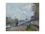 The Oise Near Pontoise in Grey Weather, 1876 Reproduction procédé giclée par Camille Pissarro