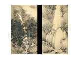 Waterfall in Spring and Autumn (Set of Two Hanging Scroll), 1893 Giclee Print by Kishi Chikudo