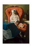 Pug Dog in an Armchair, 1857 Giclee Print by Alfred De Dreux