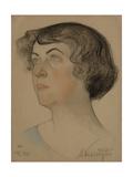 Portrait of Alexandra Mikhailovna Kollontai (1872-195), 1921 Giclee Print by Nikolai Andreevich Andreev