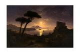 The Bay of Naples at Moonlit Night, 1842 Giclée-tryk af Ivan Konstantinovich Aivazovsky