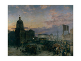 Washington Street, Indianapolis at Dusk, 1892-1895 Giclee Print by Theodor Groll