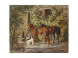 Horses at the Porch, 1843 Giclee Print by Albrecht Adam