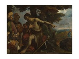 Saint John the Baptist Preaching in the Wilderness, C. 1640 Giclée-tryk af Pier Francesco Mola