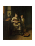A Woman Scraping Parsnips, with a Child Standing by Her, 1655 Giclee Print by Nicolaes Maes