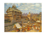 Wooden City of Moscow in the 14th Century Giclee Print by Appolinari Mikhaylovich Vasnetsov