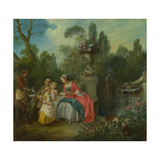 A Lady in a Garden Taking Coffee with Some Children, Ca 1742 Giclee Print by Nicolas Lancret