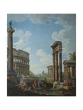 A Capriccio with Figures Among Roman Ruins Including the Arch of Constantine and the Pantheon Giclee Print by Giovanni Paolo Panini