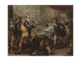 Perseus Turning Phineas and His Followers to Stone, Early 1680S Giclee Print by Luca Giordano