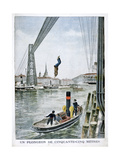 Person Plunges 55 Metres from Portside, Rouen, 1901 Giclee Print