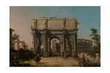 View of the Arch of Constantine with the Colosseum, 1742-1745 Giclee Print by  Canaletto