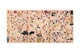 Cats. from the Series Fifty-Three Stations of the Tokaido (Triptyc), Ca 1848 Gicléedruk van Utagawa Kuniyoshi