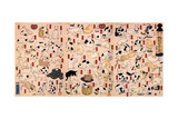 Cats. from the Series Fifty-Three Stations of the Tokaido (Triptyc), Ca 1848 Giclee Print