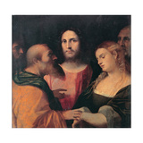 Christ and the Woman Taken in Adultery, 1525-1528 Giclee Print by Jacopo Palma Il Vecchio the Elder