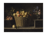 Apples in a Wicker Basket, an Pomegranate on a Silver Plate and Flowers in a Glass Vase Giclee Print by Juan de Zurbarán