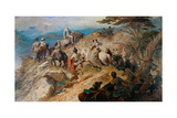Morning in the Highlands. the Royal Family Ascending Lochnagar, 1853 Giclee Print by Carl Haag