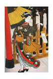 Girl on Her Way to the Shinto Shrine on a Stormy Night, 18th Century Giclee Print by Suzuki Harunobu
