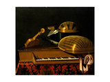 Still Life with Musical Instruments and Books, Mid of 17th C Giclee Print by Bartolomeo Bettera