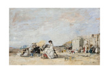 Lady in White on the Beach at Trouville Giclee Print by Eugène-Louis Boudin