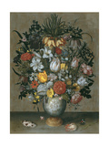 Chinese Vase with Flowers, Shells and Insects Lámina giclée por Ambrosius Bosschaert the Elder
