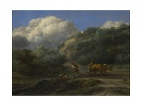 A Man and a Youth Ploughing with Oxen, C. 1650 Giclee Print by Nicolaes Berchem