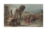 The Procession of the Trojan Horse into Troy, Ca 1760 Giclée-tryk af Giandomenico Tiepolo