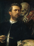 Self-Portrait with Death Playing the Fiddle, 1872 Giclee Print by Arnold Böcklin