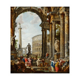 The Philosopher Diogenes Throwing Down His Bowl Giclee Print by Giovanni Paolo Panini