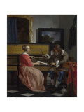 A Man and a Woman Seated by a Virginal, Ca 1665 Giclee Print by Gabriel Metsu