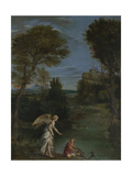 Landscape with Tobias Laying Hold of the Fish, C. 1612 Giclée-tryk af  Domenichino