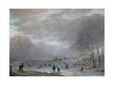 Winter Landscape with Skaters on a Frozen River Giclée-tryk af Aert van der Neer