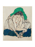Crouching Woman with Green Headscarf, 1914 Giclee Print by Egon Schiele