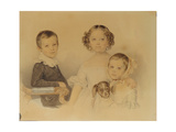 Portrait of the Lanskoy Children, 1839 Giclee Print by Pyotr Fyodorovich Sokolov