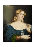 Young Woman in a Blue Dress, with Fan, 1512-1514 Giclee Print by Jacopo Palma Il Vecchio the Elder
