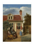 A Company in the Courtyard Behind a House, 1663-1665 Giclee Print by Pieter de Hooch