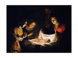 The Adoration of the Christ Child, C. 1620 Giclée-tryk af Gerrit van Honthorst