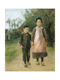 Boy and Girl on a Village Street, Ca 1897 Giclee Print