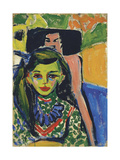 Fränzi in Front of Carved Chair, 1910 Giclee Print by Ernst Ludwig Kirchner