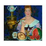 The Merchant's Wife Drinking Tea, 1923 Giclee Print by Boris Michaylovich Kustodiev