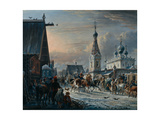 Street with Mail Coaches, 1829 Giclee Print by Alexander Osipovich Orlowski