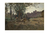 Peasants under the Trees at Dawn, C. 1843 Giclee Print by Jean-Baptiste Camille Corot