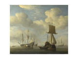An English Vessel and Dutch Ships Becalmed, C. 1660 Giclée-Druck von Willem Van De Velde The Younger
