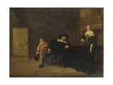 Portrait of a Man, a Woman and a Boy in a Room, 1640 Giclee Print by Pieter Codde