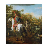 Equestrian Portrait of a Hussar Officer, 1773 Giclee Print by Bernardo Bellotto