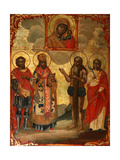 The Selected Saints before the Icon of Our Lady of Kazan, Late 18th Cent. Giclee Print by Evfimy Denisov