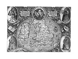 Map of England, 16th Century Giclee Print
