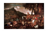 Abraham on the Road to Canaan, 1650-1660 Giclee Print by Giovanni Benedetto Castiglione