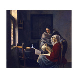 Girl Interrupted at Her Music, C. 1660 Giclee Print by Jan Vermeer