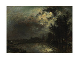 View on Overschie in Moonlight, 1872 Giclee Print by Johan Barthold Jongkind