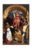 Enthroned Madonna with Child and Saints, Ca 1530 Giclée-tryk af Paris Bordone